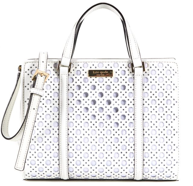 KATE SPADE White Cut-Out Leather Mini Romy bury Lane Caning Satchel