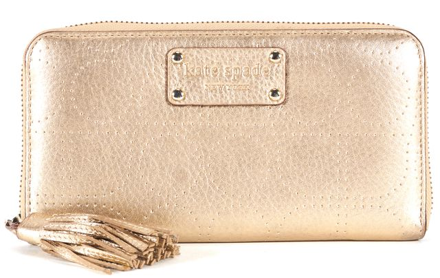 KATE SPADE Gold Perforated Leather Fringe Zip Around Continental Wallet