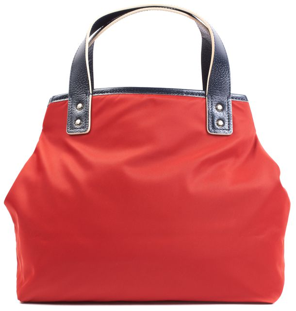 KATE SPADE Red Navy Blue Nylon Top Handle Tote Bag