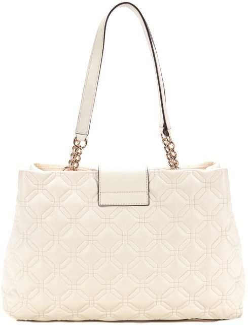 KATE SPADE Ivory Quilted Leather Top Handle Chain Link Shoulder Bag