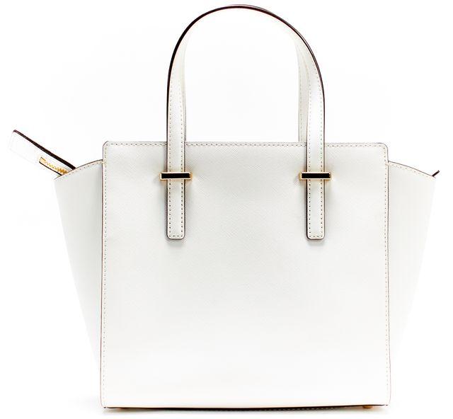 KATE SPADE White Saffiano Leather Cedar Medium Zip-Up Top Handle Bag