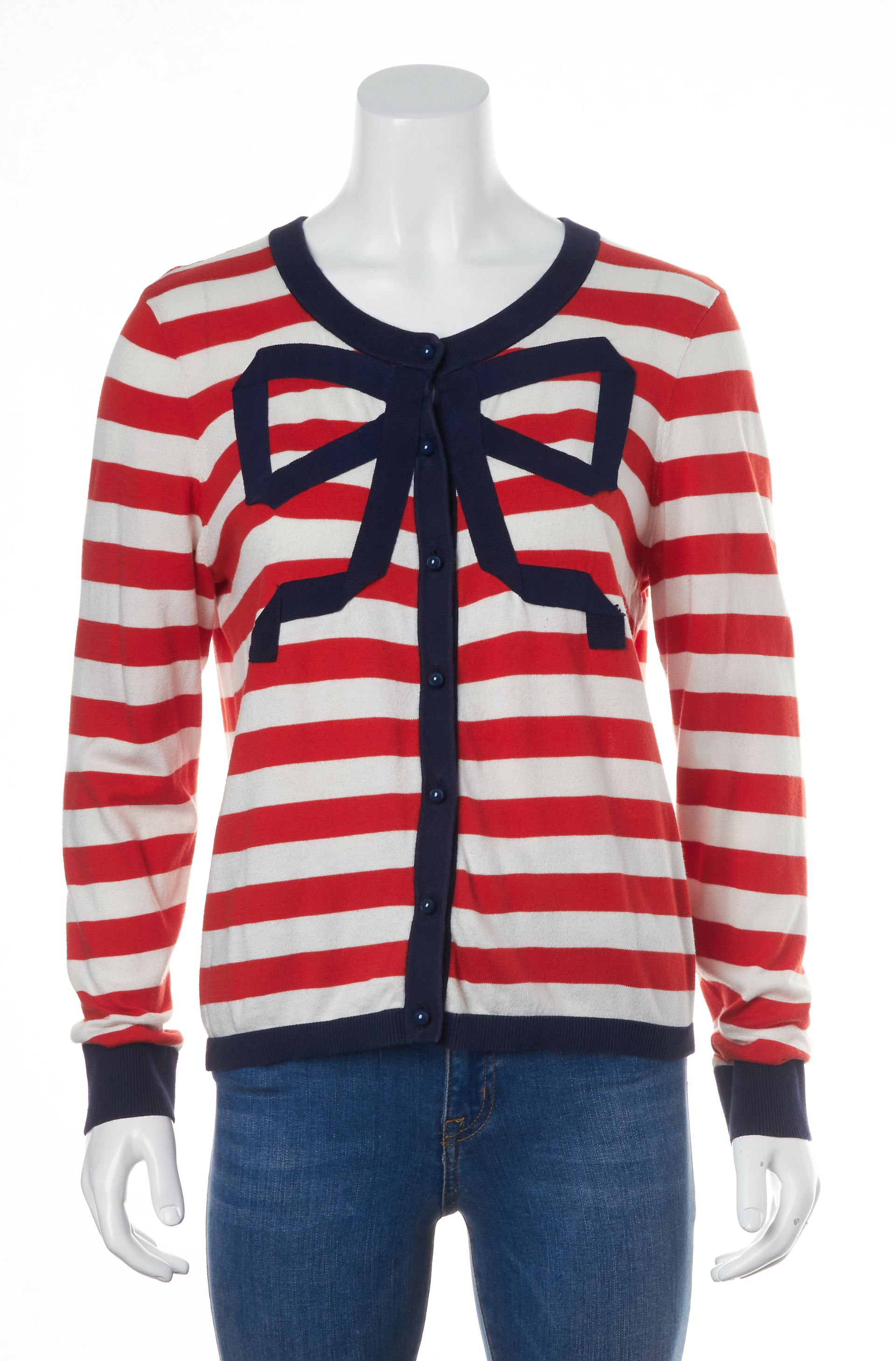 Kate Spade Red White Blue Striped Bow Long Sleeve Cardigan Sweater ...