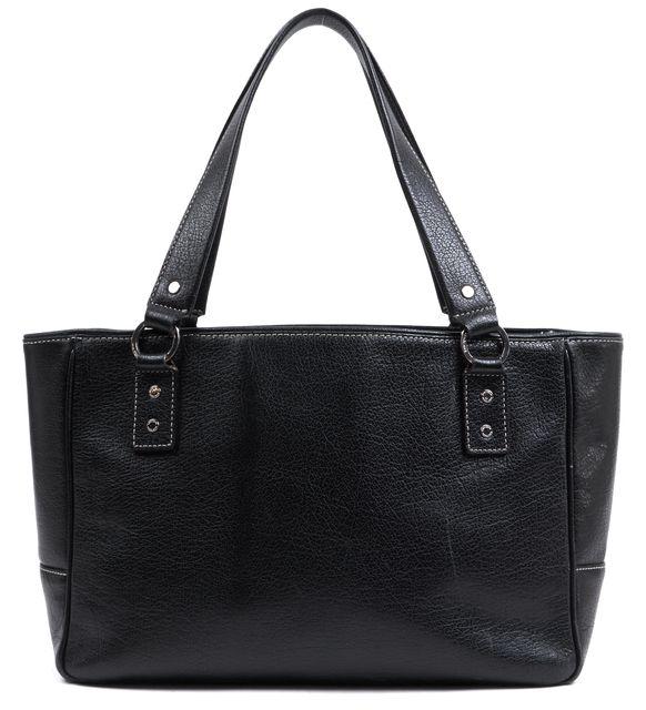 KATE SPADE Black Leather Zip Top Contrast Stitch Shoulder Tote