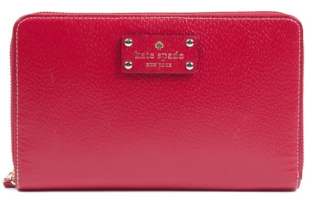 KATE SPADE Red Textured Leather Full Zip Around Clutch Wallet