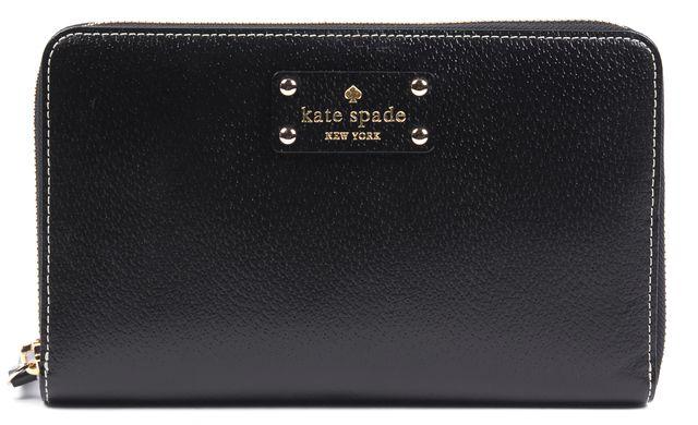 KATE SPADE Black Textured Leather Contrast Stitch Zip Around Clutch Wallet