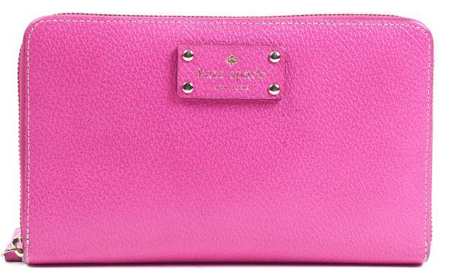 KATE SPADE Pink Textured Leather Full Zip Around Clutch Wallet