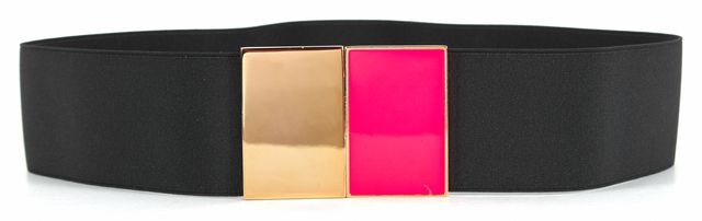 KATE SPADE Black Elastic Pink Gold Metal Hardware Belt