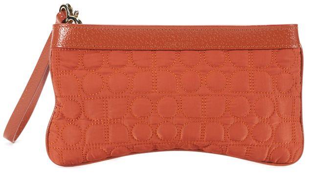 KATE SPADE Orange Quilted Nylon Leather Trim Gold Tone Hardware Small Wristlet