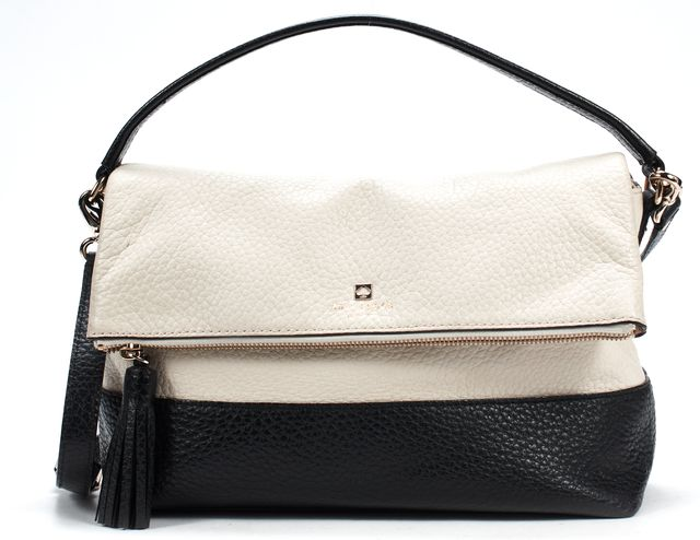 KATE SPADE Cream Black Pebbled Leather Top Handle With Crossbody Bag
