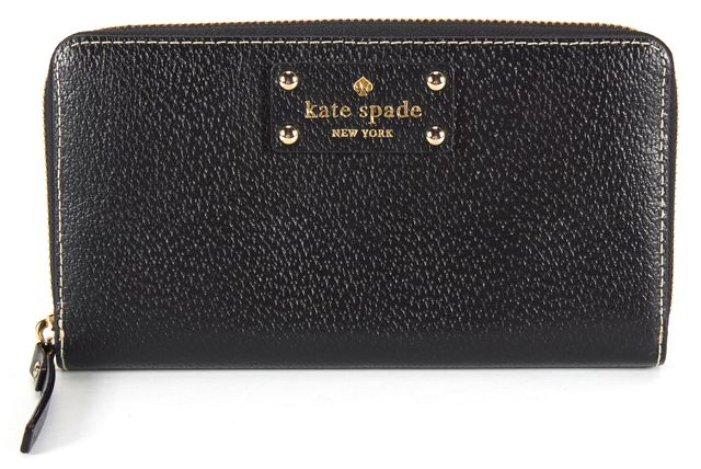 KATE SPADE Black Pebbled Leather Zip Continental Wallet
