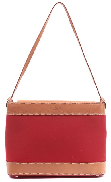 KATE SPADE Red Tan Leather Canvas Shoulder Bag Tote Bag