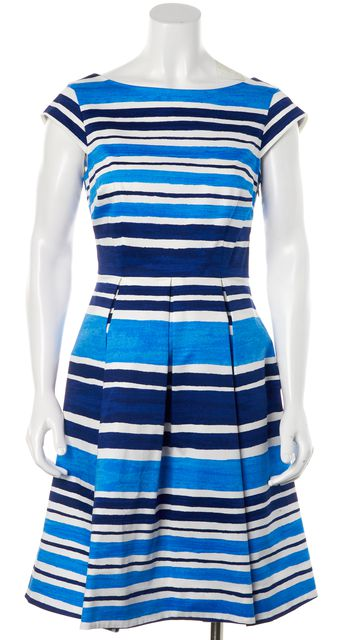 KATE SPADE Blue White Striped Pleated Knee Length Fit & Flare Dress
