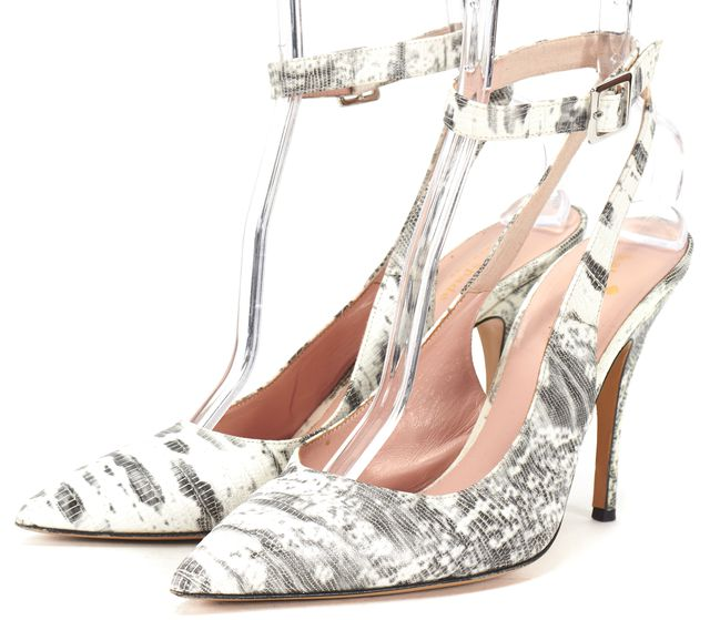 KATE SPADE White Gray Snake Embossed Leather Pointed Toe Ankle Strap Heels