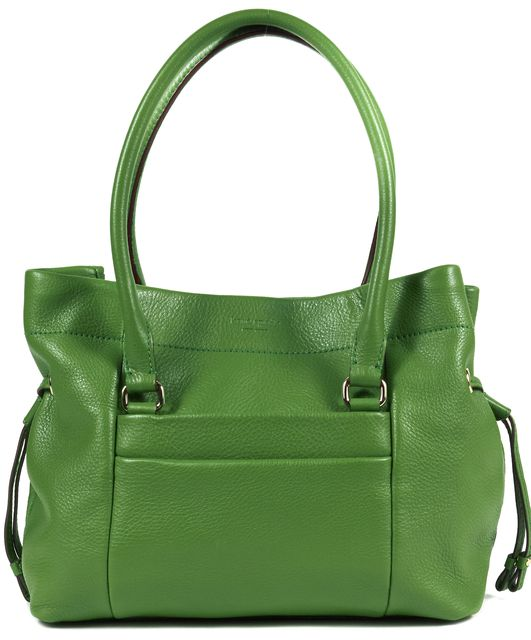KATE SPADE Green Pebble Grain Leather Medium Snap Close Top Handle Shoulder Bag