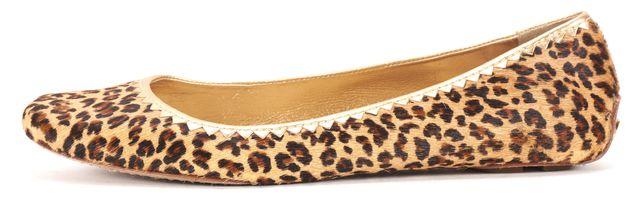 KATE SPADE Brown Beige Gold Calf-Hair Leopard Print Ballet Flats