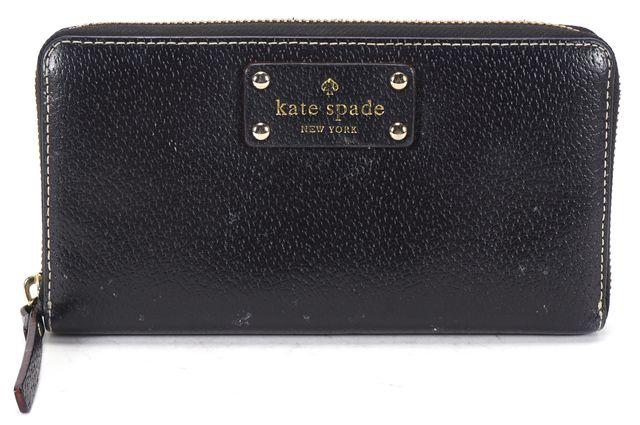 KATE SPADE Black Leather Continental Zip Around Wallet