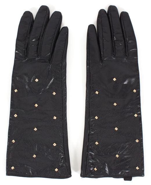 KATE SPADE Black Leather Gold Studded Winter Gloves