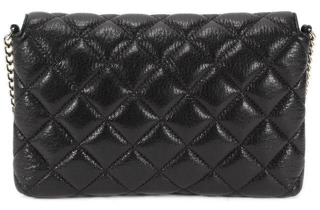 KATE SPADE Black Quilted Leather Chain Link Shoulder Bag Large Clutch
