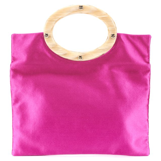 KATE SPADE Fuchsia Pink Beige Satin Top Handle Mini Bag
