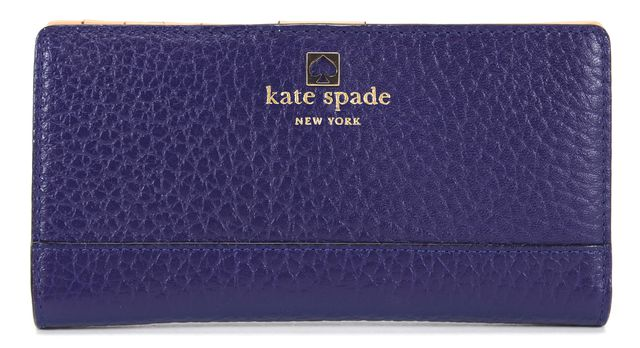 KATE SPADE Royal Blue Pebbled Leather Stacy Cobble Hill Wallet