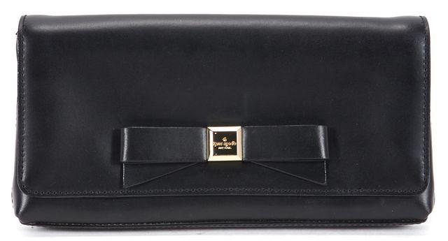 KATE SPADE Black Leather Metallic Gold Hardware Bow Embellished Clutch
