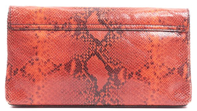 KATE SPADE Orange Snake Embossed Leather Medium Envelope Flap Clutch Bag