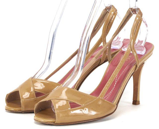 KATE SPADE Beige Patent Leather Peep-Toe Slingback Heels