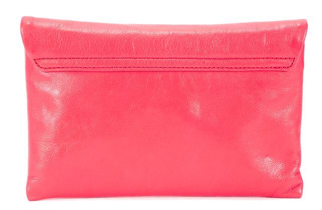KATE SPADE Pink Leather Alexis Ivy Place Geranium Envelope Clutch