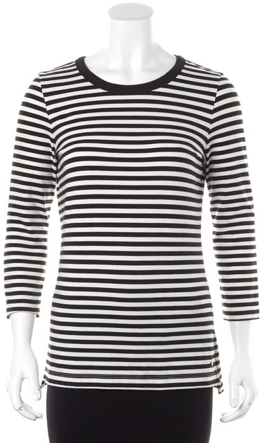 KATE SPADE Black White Striped Exposed Back Top