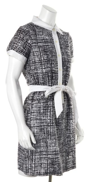 KATE SPADE Black White Abstract Print Belted Short Sleeve Polo Shirt Dress
