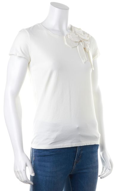 KATE SPADE Ivory Short Sleeve Bow Detail Crewneck Blouse Top