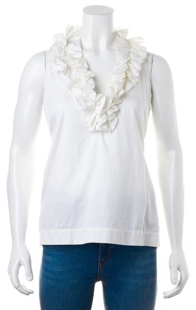 KATE SPADE White Ruffled V-Neck Sleeveless Stretch Cotton Blouse Top