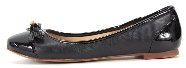 KATE SPADE Black Patent Leather Bow Stud Ballet Flats