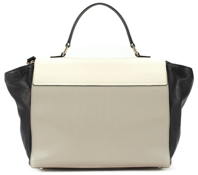KATE SPADE Cream Gray Black Leather Convertible Flap Satchel