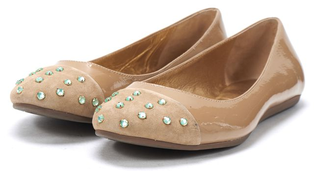 KATE SPADE Beige Patent Leather Suede Capped Toe Stud Embellished Flats