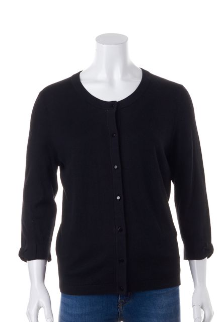 KATE SPADE Black Bow Long Sleeve Button Front Cardigan