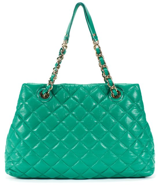 KATE SPADE Sea Green Quilted Leather Silver Hardware Shoulder Bag