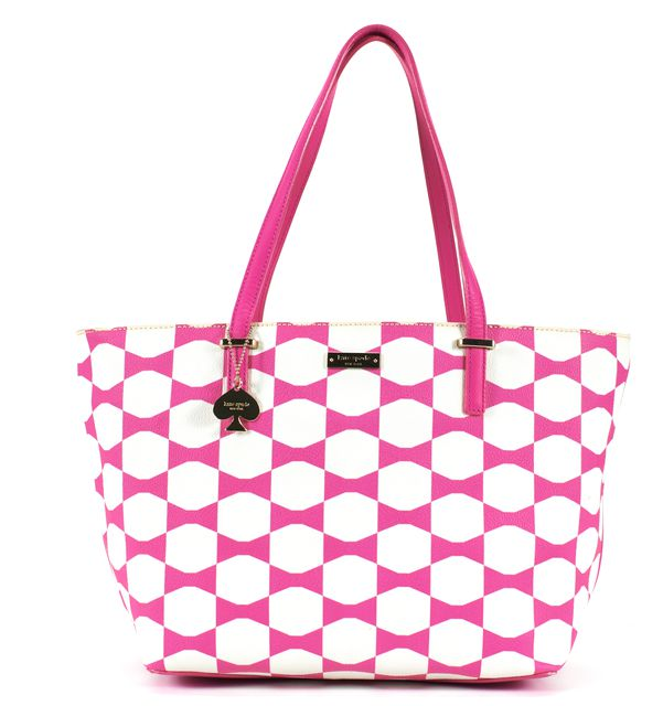 KATE SPADE Pink White Leather Bow Print Gold Hardware Tote Bag