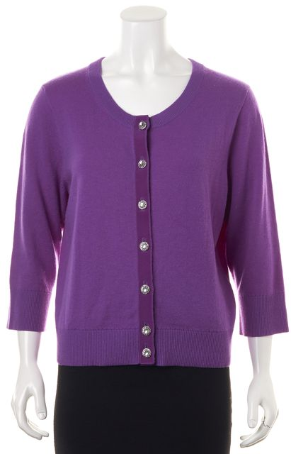 KATE SPADE Purple Wool Jeweled Button 3/4 Sleeve Cardigan