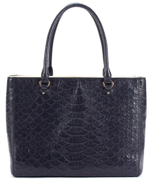 KATE SPADE Navy Blue Python Embossed Leather Top Handle Tote Bag