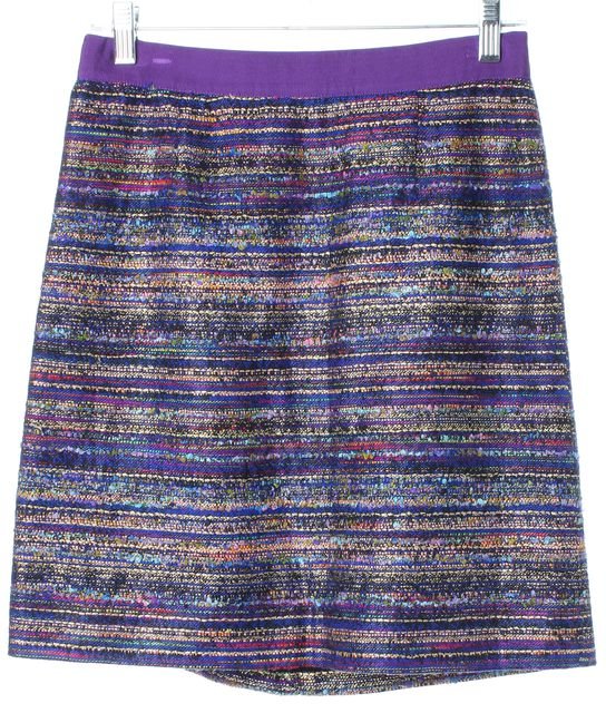 KATE SPADE Purple Blue Gold Boucle Above Knee A-Line Skirt