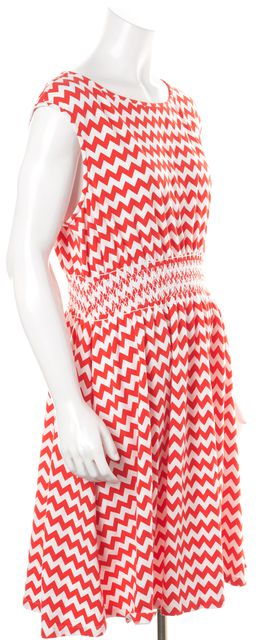 KATE SPADE Red White Zig Zag Striped Stretch Cotton Fit & Flare Dress