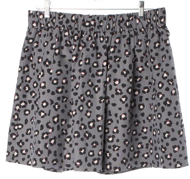 KATE SPADE Gray Pink Animal Printed Stretch Waist Pleated Mini Skirt