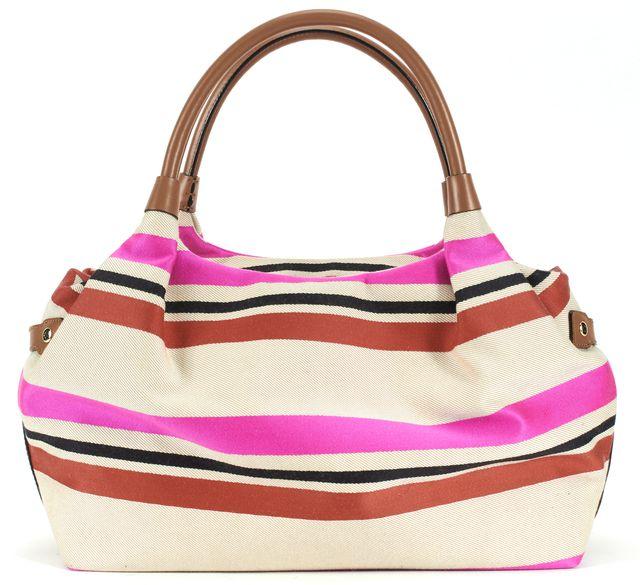 KATE SPADE Ivory Pink Red Striped Canvas Leather Trim Shoulder Bag
