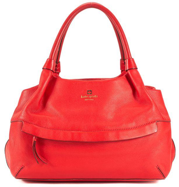 KATE SPADE Red Pebbled Leather Gold Hardware Shoulder Bag