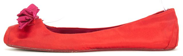 KATE SPADE Red Purple Satin Bow Square Toe Ballet Flats