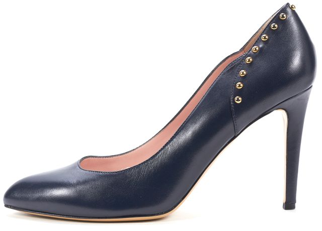 KATE SPADE Navy Blue Leather Gold Studded Pointed Toe Pumps