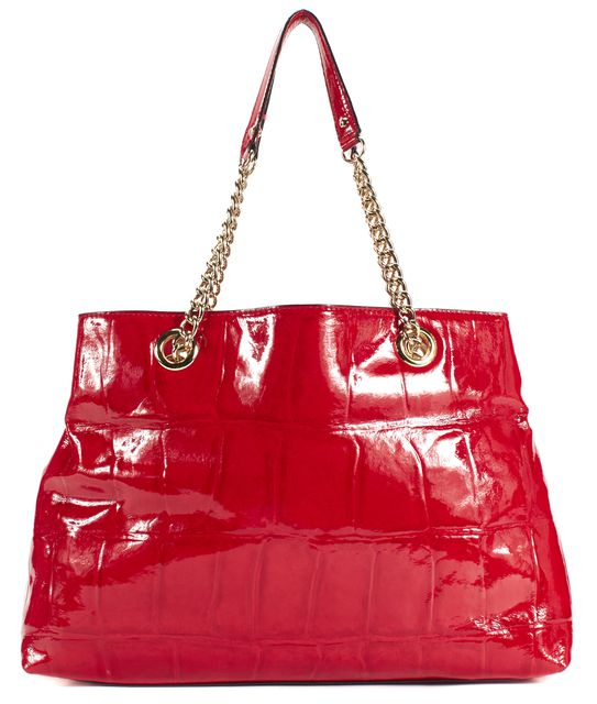 KATE SPADE Red Patent Leather Gold Chain Strap Shoulder Bag