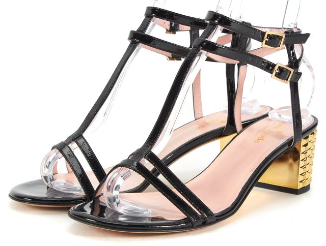 KATE SPADE Black Patent Leather Multi Strap Gold Block Heels
