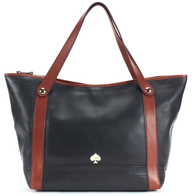 KATE SPADE Black Brown Leather Zip Top Tote Bag